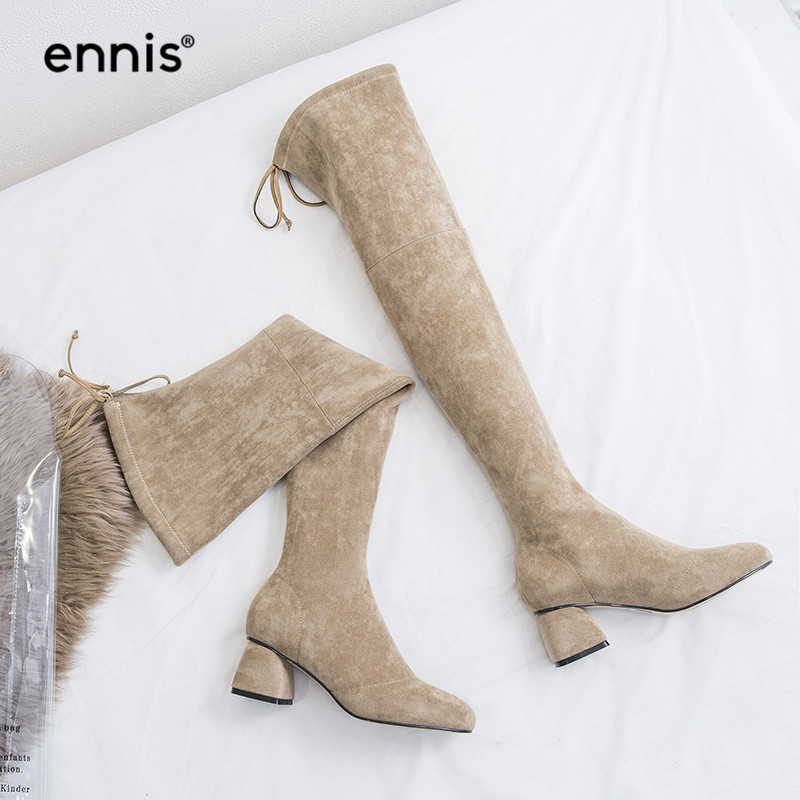 ENNIS 2019 Chunky High Heel Over Knee Boots Womens Laces Knee High Boots Suede Flock Shoes