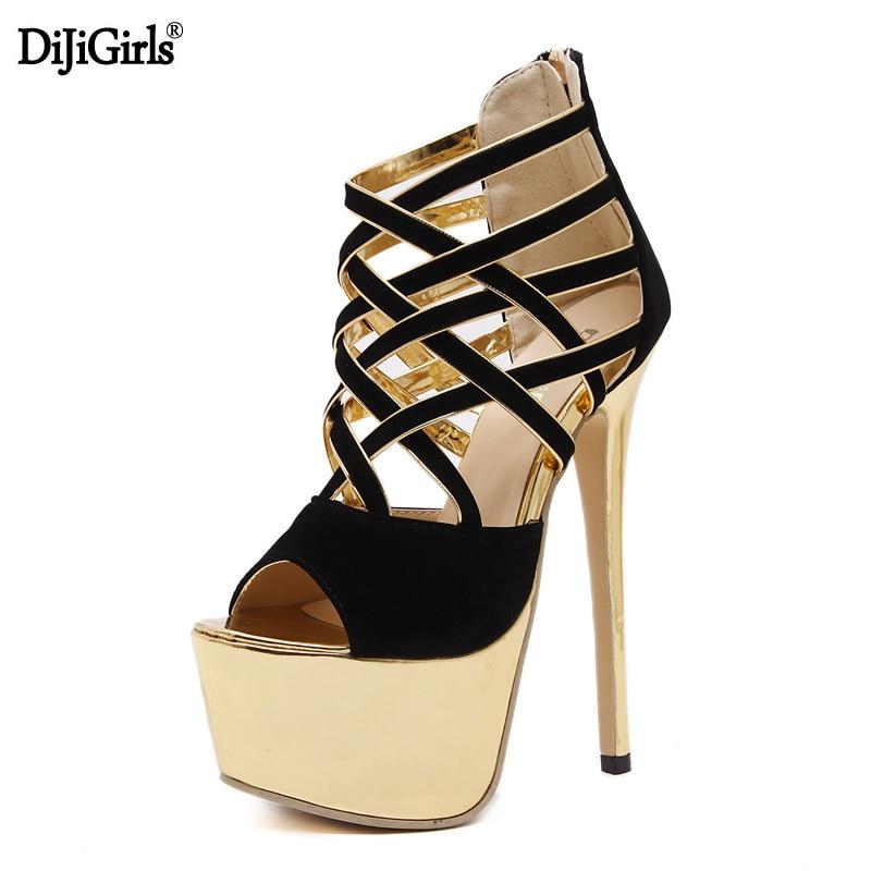 Dijigirls Women's high heel shoes fashion platform  gladiator sandals women Ankle boots 2017 summer ladies shoes high heels genuine leather shoes women platform sandals high heels long boots women summer shoes gladiator sandals women high boots bigsize