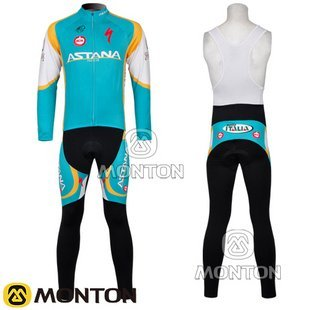 2011 Astana team green&gold cycling jersey long suit-L007/cycling clothing/cycling wear/cycling jersey/Free shipping