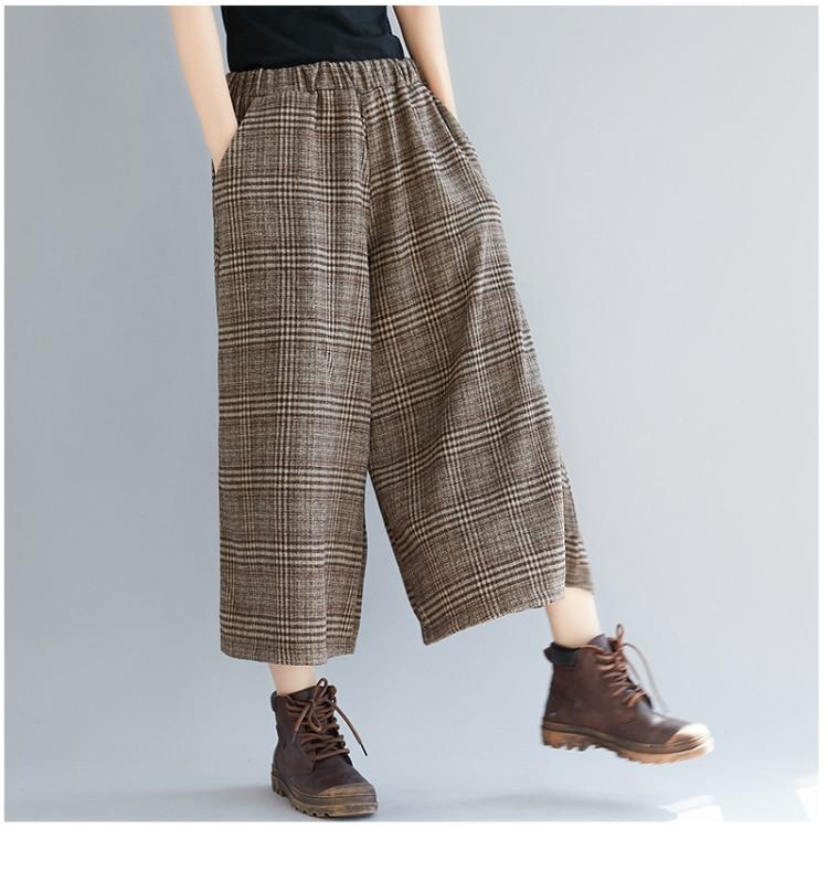 Plus Size Women Wide Leg Pants Autumn Harem Pants Plaid Casual Vintage Korean 2018 Oversize New Elastic Waist Woolen Pants 12