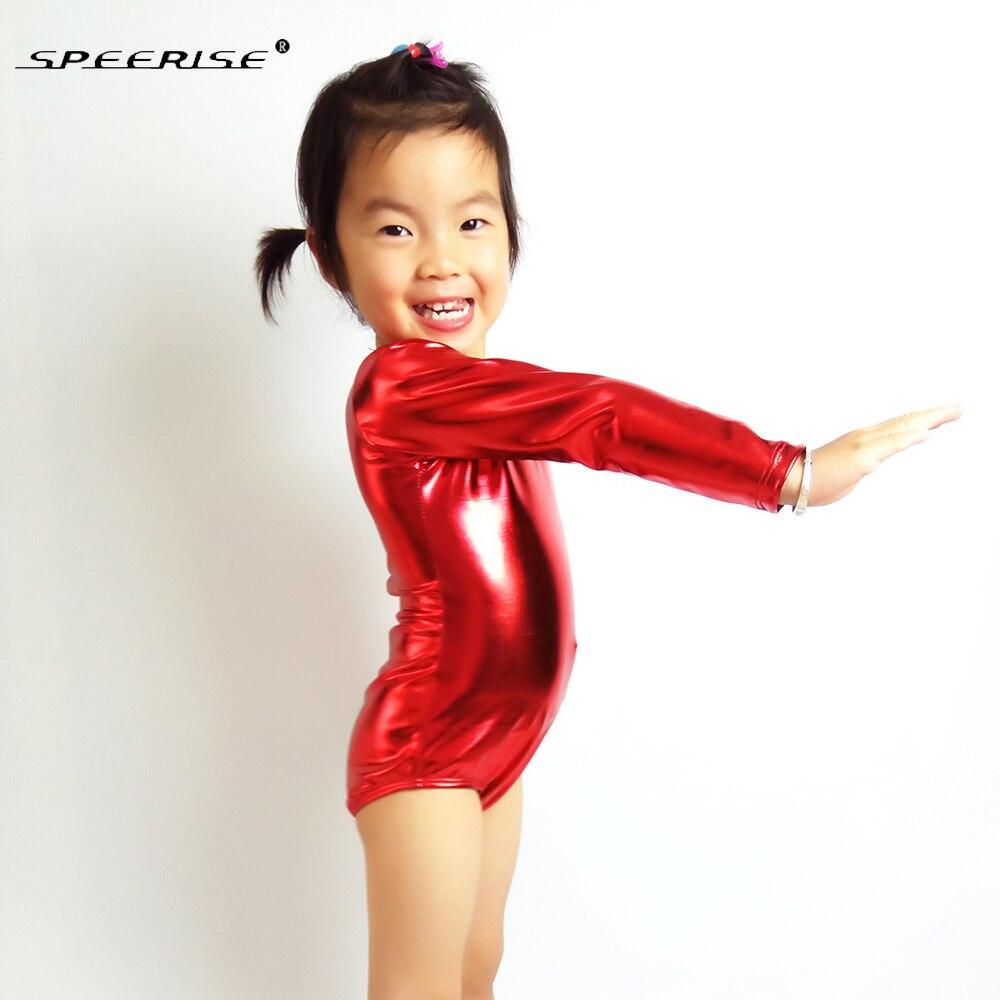 speerise Shiny Metallic Girls One-piece Long Sleeve Gymnastics Spandex  Leotard 88e8b4e7d