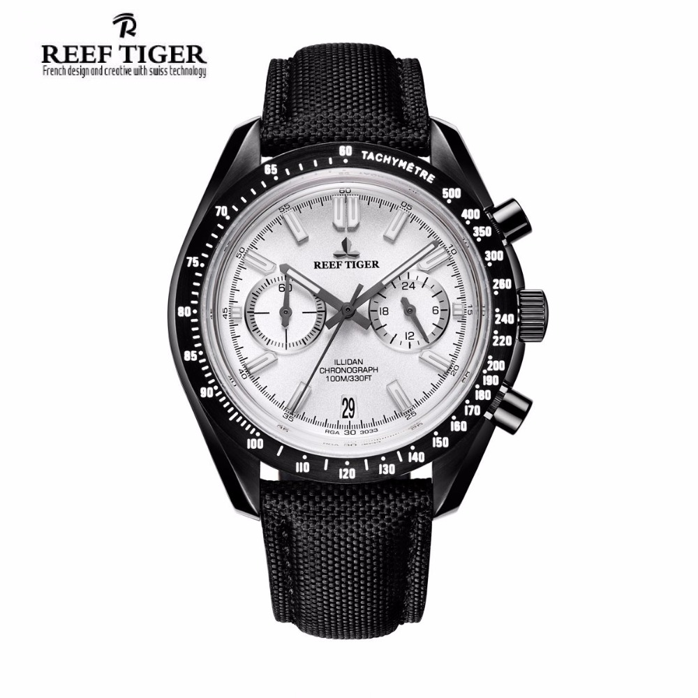 2017 New Reef Tiger/RT Mens Designer Sport Watch with Date Black Steel White Dial Luminous Chronograph Watch RGA3033 yn e3 rt ttl radio trigger speedlite transmitter as st e3 rt for canon 600ex rt new arrival