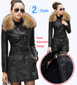 Кожаное пальто женщин Новый стиль талии разделены Desigan женщин меховой воротник кожаная куртка женщины замшевые пальто женский пальто Большой размер