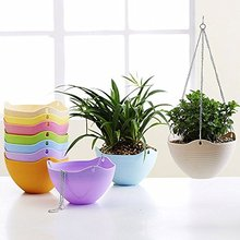 Mkono Hanging Basket Hanging Planter Plant Pot Garden Flower Pots Plastic Flowerpots with Metal Chain Multicolor