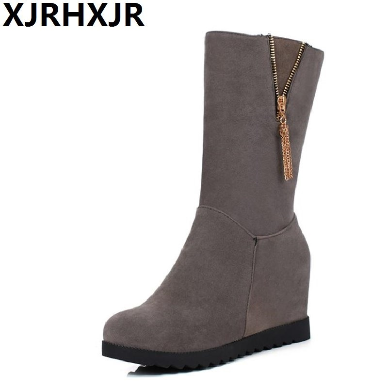 XJRHXJR Size 33-43 Shoes Woman Autumn Winter Warm Shoes Fashion Wedges Heel Mid Calf Boots Suede Leather Riding Boots Black Gray brand new winter quality women mid calf wedges boots fashion black red beige lady riding shoes eym02 plus big size 10 43