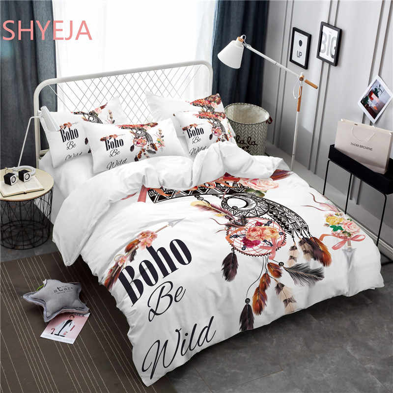 Shyeja Hipster Watercolor Bedding Set Queen King Size Dreamcatcher Feathers Duvet Cover Bohemian Printed Bed Cover 3/4 Pcs