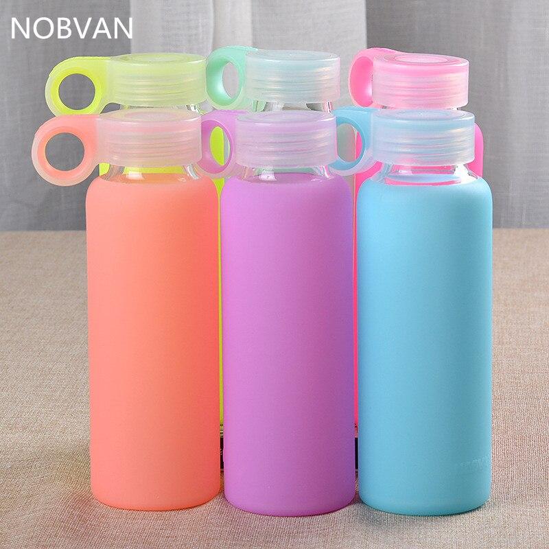 300ML كاندي الألوان زجاج زجاجة غلاية ملونة جيلي مع غطاء سيليكون ارتفاع زجاجة المياه الرياضة البورسليكات غلايات الأزياء