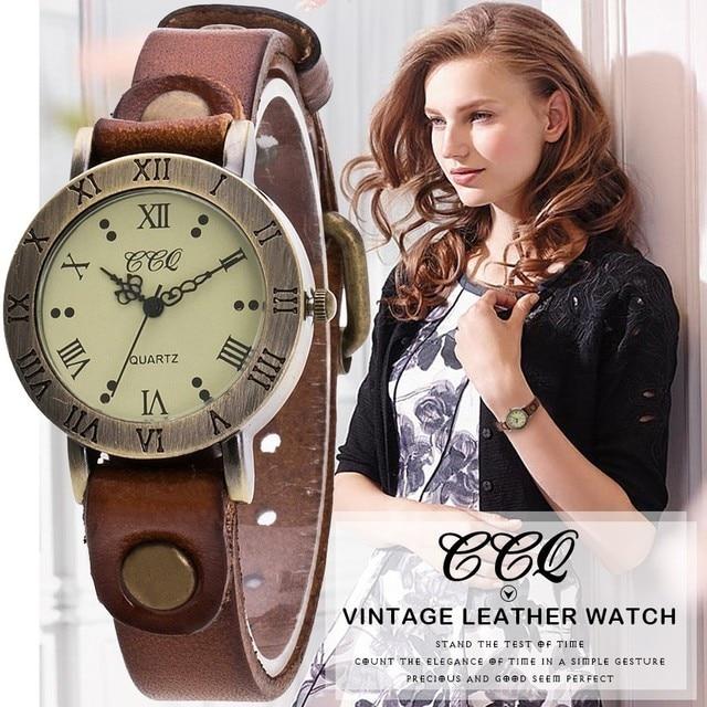 Hot Selling CCQ Brand Vintage Cow Leather Wrist Watch Fashion Women Bracelet Wat
