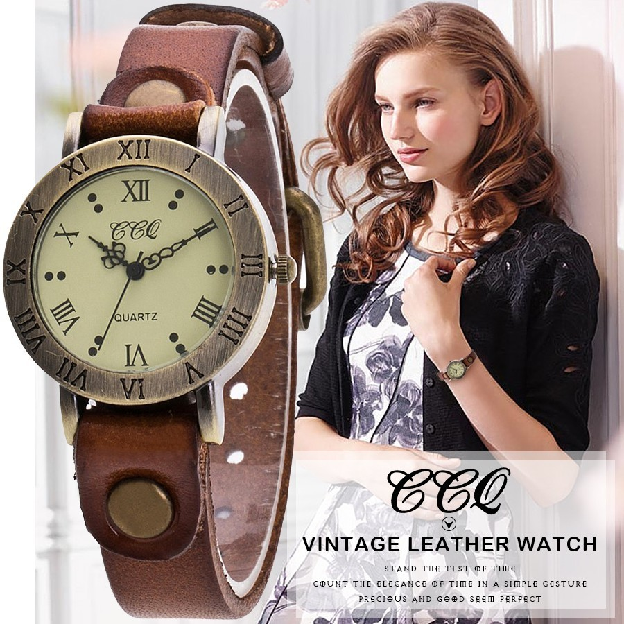 Hot Selling CCQ Brand Vintage Cow Leather Wrist Watch Fashion Women
