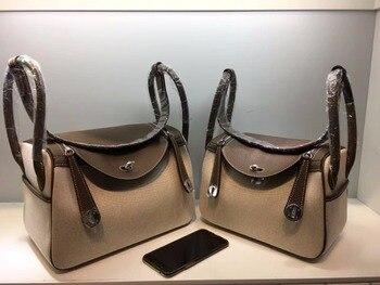 Kafunila women canvas&genuine leather handbag 2018 boston designer female famous brand buckle tote messenger crossbody bag bolsa