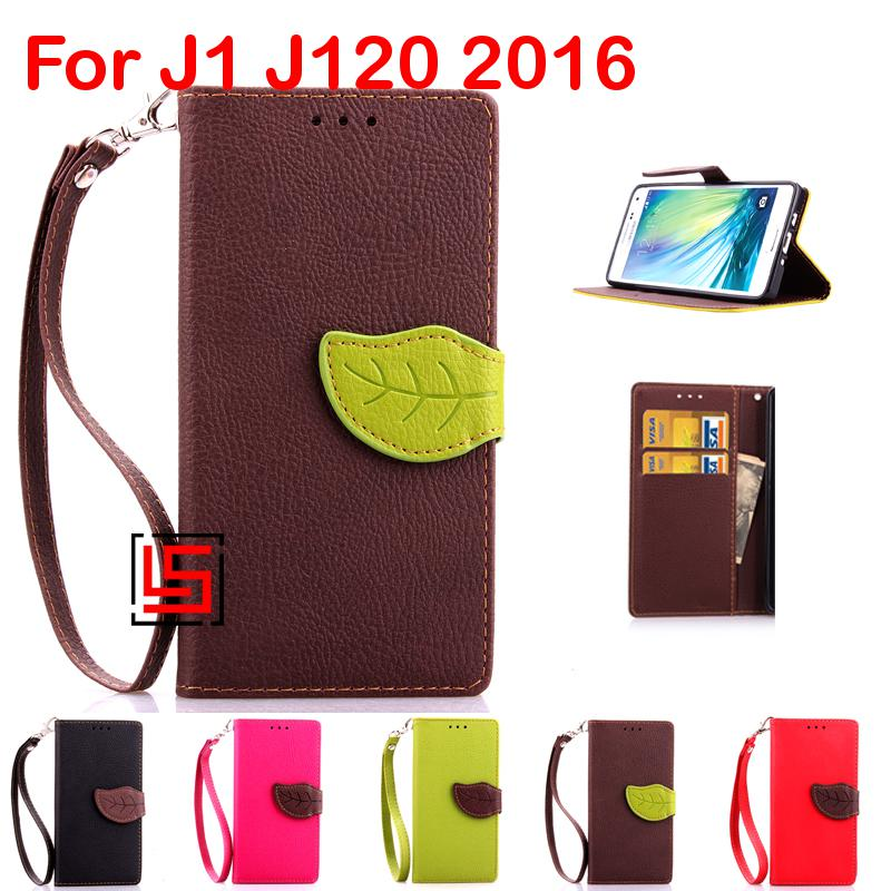 Leaf Clasp Buckle PU Leather Flip Wallet Walet Stand Phone Cell Mobile Case capinha Cover For Samsung Galaxy J1 J120 2016 J 1