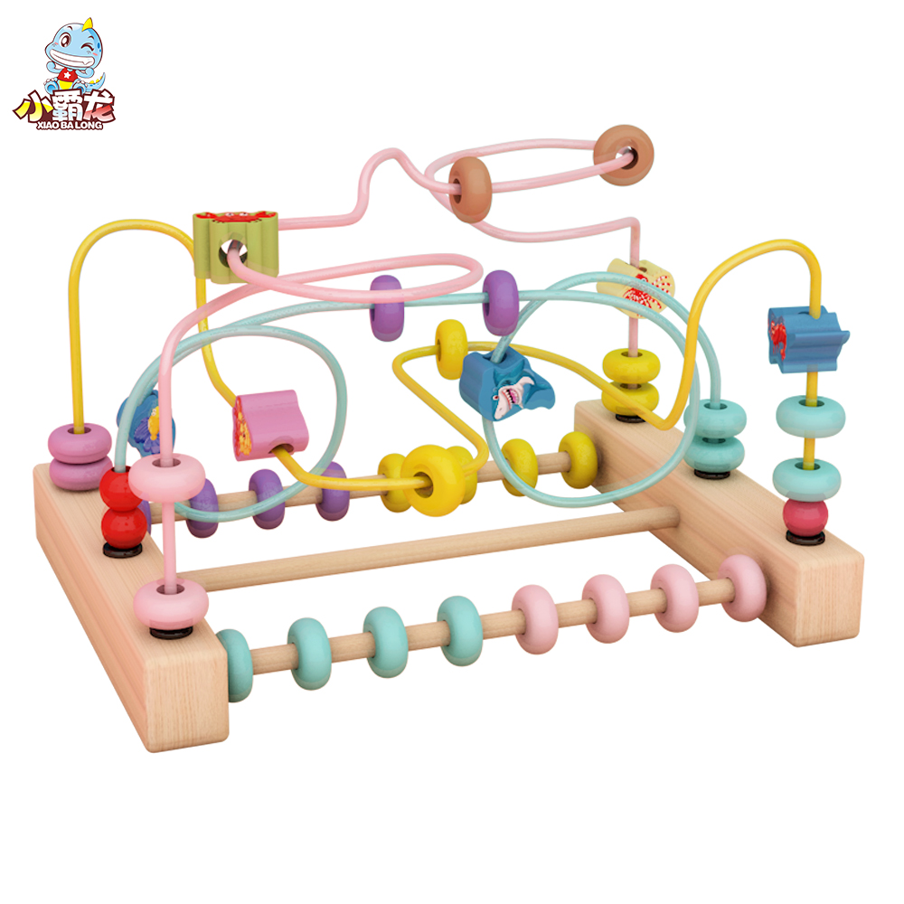 Wooden block Math Toy Counting Circles Bead Abacus Baby Wire Maze Kids Coaster Montessori Educational Puzzle Toys for Children