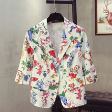 Plus Size 4XL Womens Suit Spring Floral Printed White Suit Slim Office Lady Fashion Womens