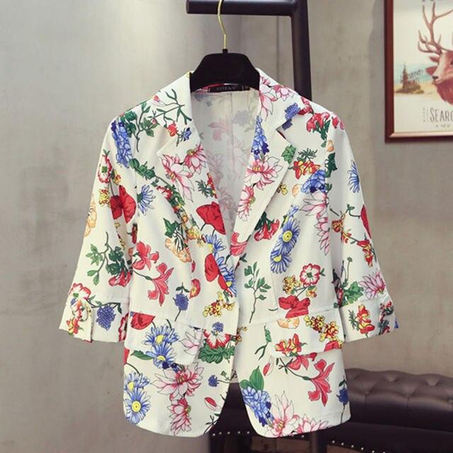 afefc4b6b Plus Size Mulheres Blazer Primavera Floral Impressão Terno Fina Era Branco  Jaqueta Moda Senhora Do Escritório Casaco Femme MZ2598