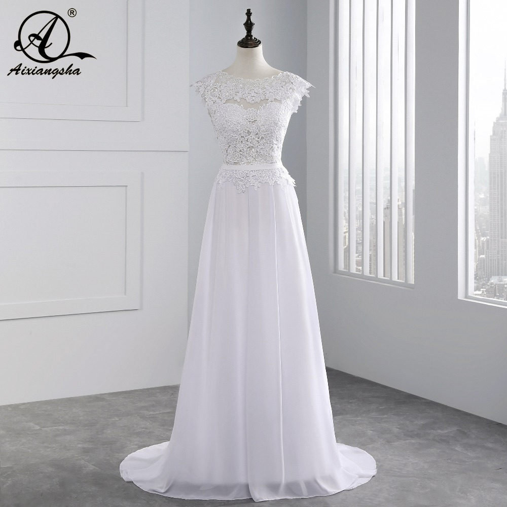 76ecbe6da3f 2018 Hot New A-line Appliques wedding dresses Custom Made vestidos de noiva  Sexy Bridal Gown Cap Sleeve Lace wedding dress ~ Super Deal May 2019