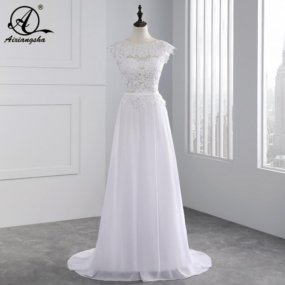 2018 Hot New A-line Appliques wedding dresses Custom Made vestidos de noiva Sexy Bridal Gown Cap Sleeve Lace wedding dress
