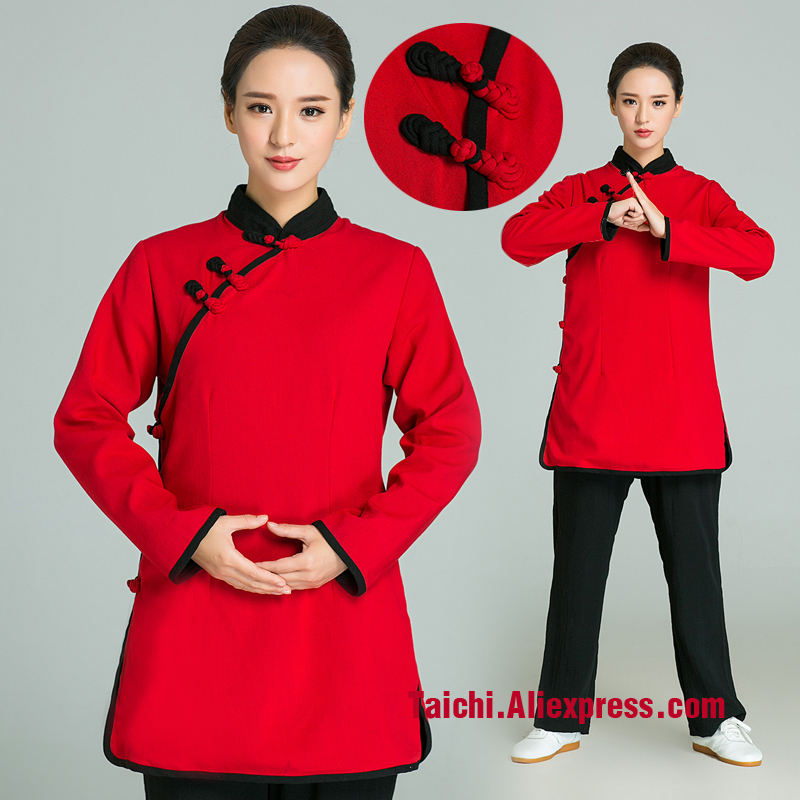 Handmade Linen Tai Chi Uniform  Kung Fu Flax Martial Art Suit Surplice Red Top And Black Pants Beautiful Handmade Button