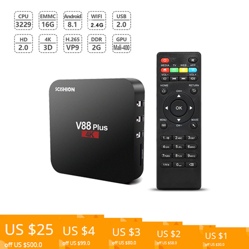 SCISHION V88 Plus Smart TV Box Android 8.1 RK3229 Quad Core 4K android tv box 2GB / 16GB Miracast DLNA WiFi LAN HD Media box