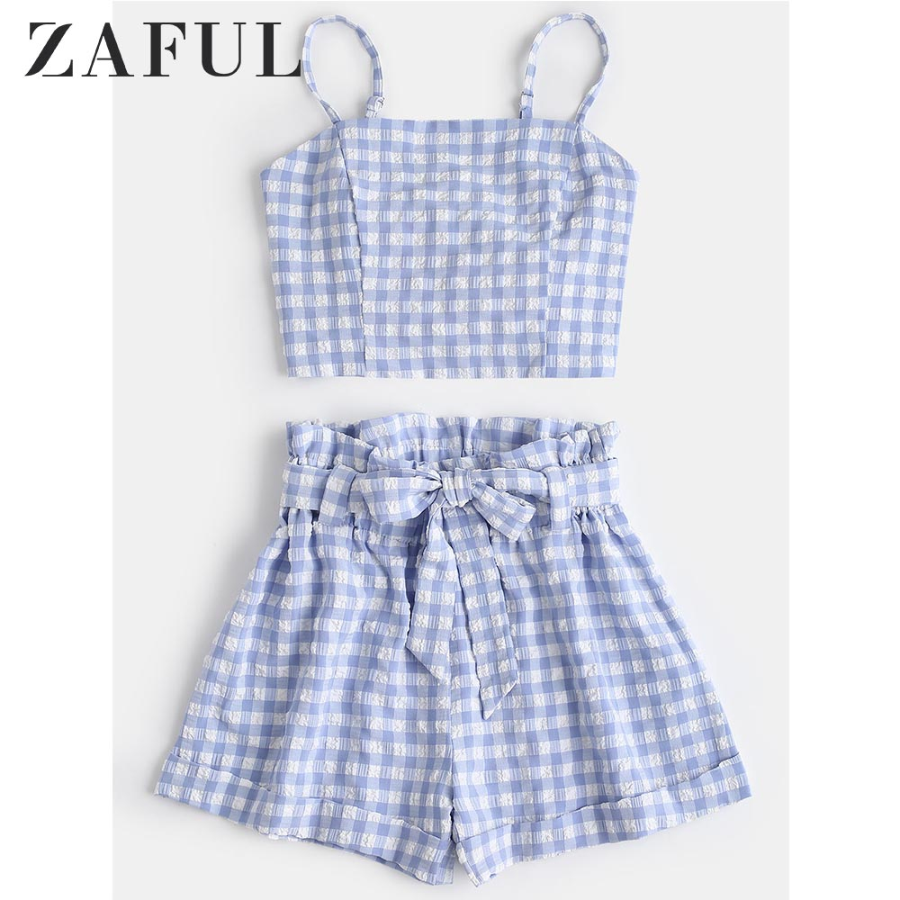 ZAFUL Plaid Cami Top And Belted Shorts Set Summer Spaghetti Straps Top High Waist Belted Shorts Two Piece Set 2019 Women Beach