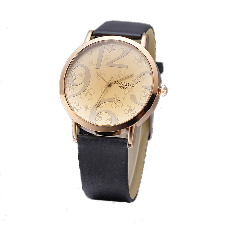 2020 Luxury Top Brand Women Watch Big Number Dial Lady Watches Leather Band Female Casual Quartz Wirstwatches Montre Femme Gift