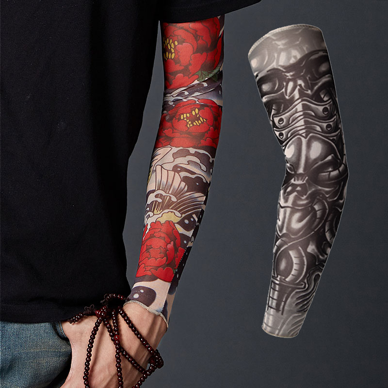 New Arrival 2019 1Pair Nylon Arm Warmer Elastic Compression Fake Temporary Tattoo Sleeves Bicycle Arm Stockings