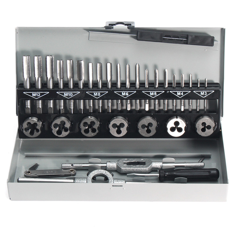 цены 32Pcs Pro Metric Wrench Tap and Die M3-M12 Alloy Steel Remover Hand Tools Set For AF Vehicles Machinery Case Metalworking