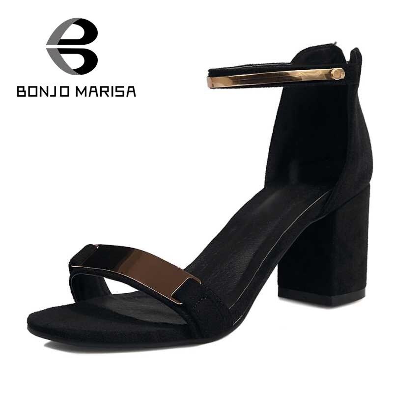 ФОТО BONJOMARISA Shinning Ankle Strap Belt women's Sandals Square Heels Summer Shoes Woman Open Toe Less Platform Sandals Big Size