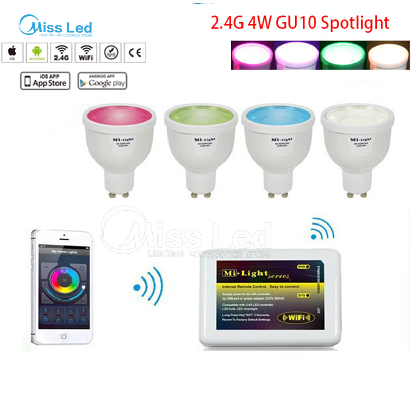 1x Mi light Wifi controller + 4 x 4w GU10 led spotlight bulb RGBW(RGB+White/Warm white) change color/brightness with controller bandai bandai gundam model sd q version bb 309 sangokuden wu yong bian xiahou yuan battle