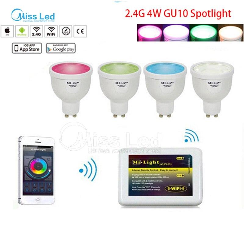 1x Mi lumière Wifi contrôleur + 4x4 w GU10 led ampoule projecteur RGBW (RGB + blanc/blanc chaud) changer de couleur/luminosité avec contrôleur