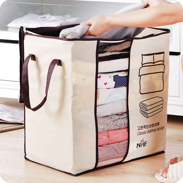 2018 new Non-woven Portable Clothes Storage Bag Organizer 45.5*51*29cm Folding Closet Organizer For Pillow Quilt Blanket Bedding 4