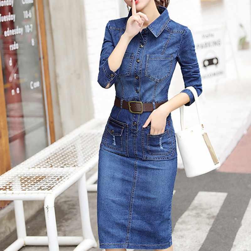 EXOTAO осеннее женское платье винтажное плюс размер платье Женский пикантный зауженный повседневное джинсовое платье Женская ткань с длинным рукавом Бандажное платье