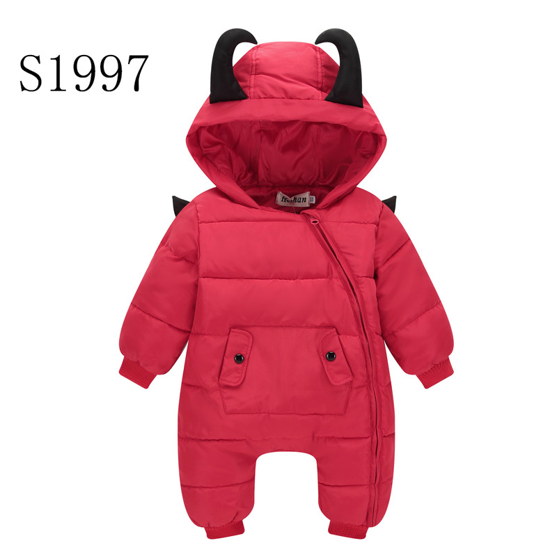 2017 New Baby Rompers Winter Thickening Warm Baby boy Clothing Long Sleeve Cartoon Hooded Jumpsuit Kids Newborn Outwear Retail warm thicken baby rompers long sleeve organic cotton autumn