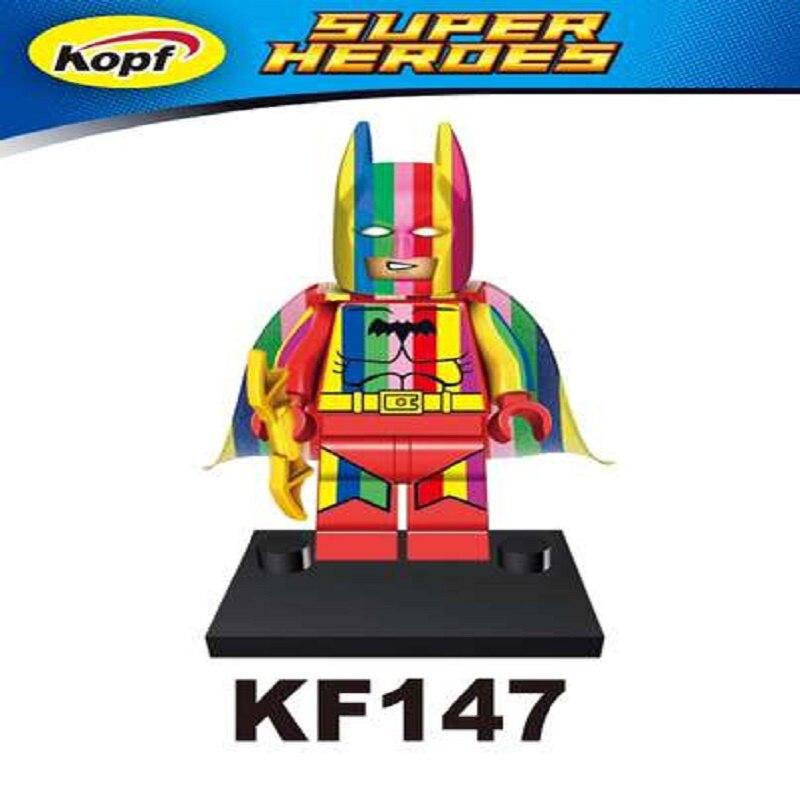 Single Sale Super Heroes Bricks Custom Made Printed Education Universe Rainbow Batman  Building Blocks Kids Gift Toys KF147