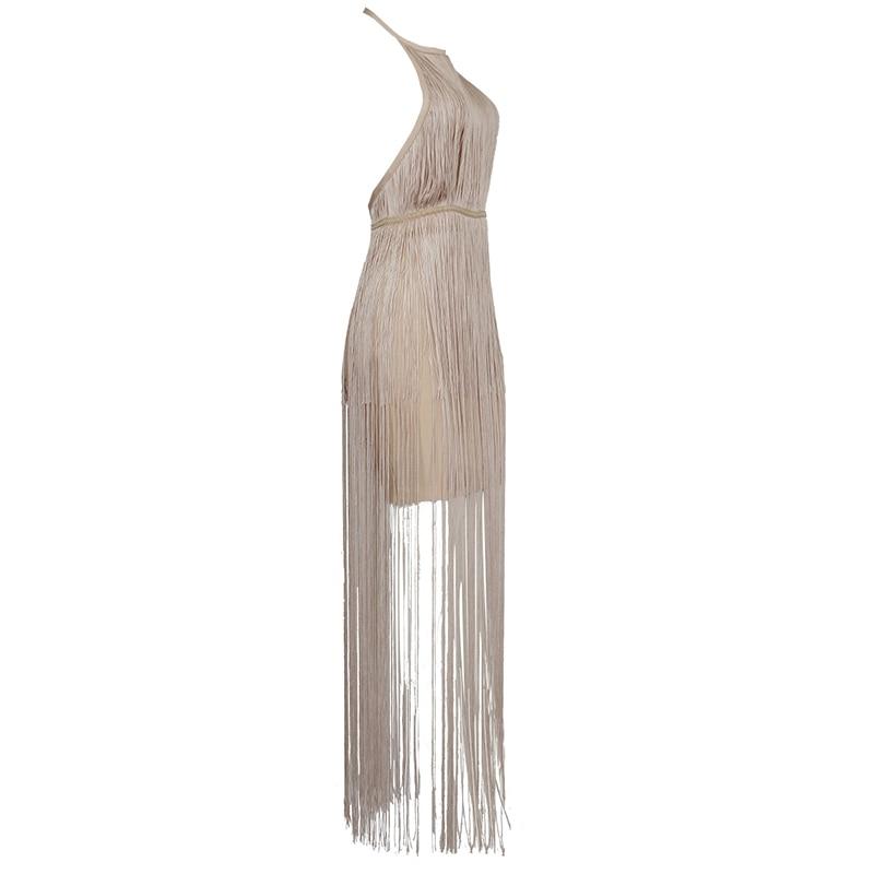 2019 夏の女性のドレスクラブ包帯ドレスセレブタッセルボディコン秋の夜のパーティーセクシーなノースリーブの服  グループ上の レディース衣服 からの ドレス の中 3