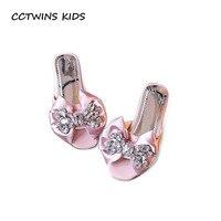 CCTWINS KIDS 2017 Summer Kid Fashion Rhinestone Slipper Children Bow Toddler Girl Slide Beach Baby Pu