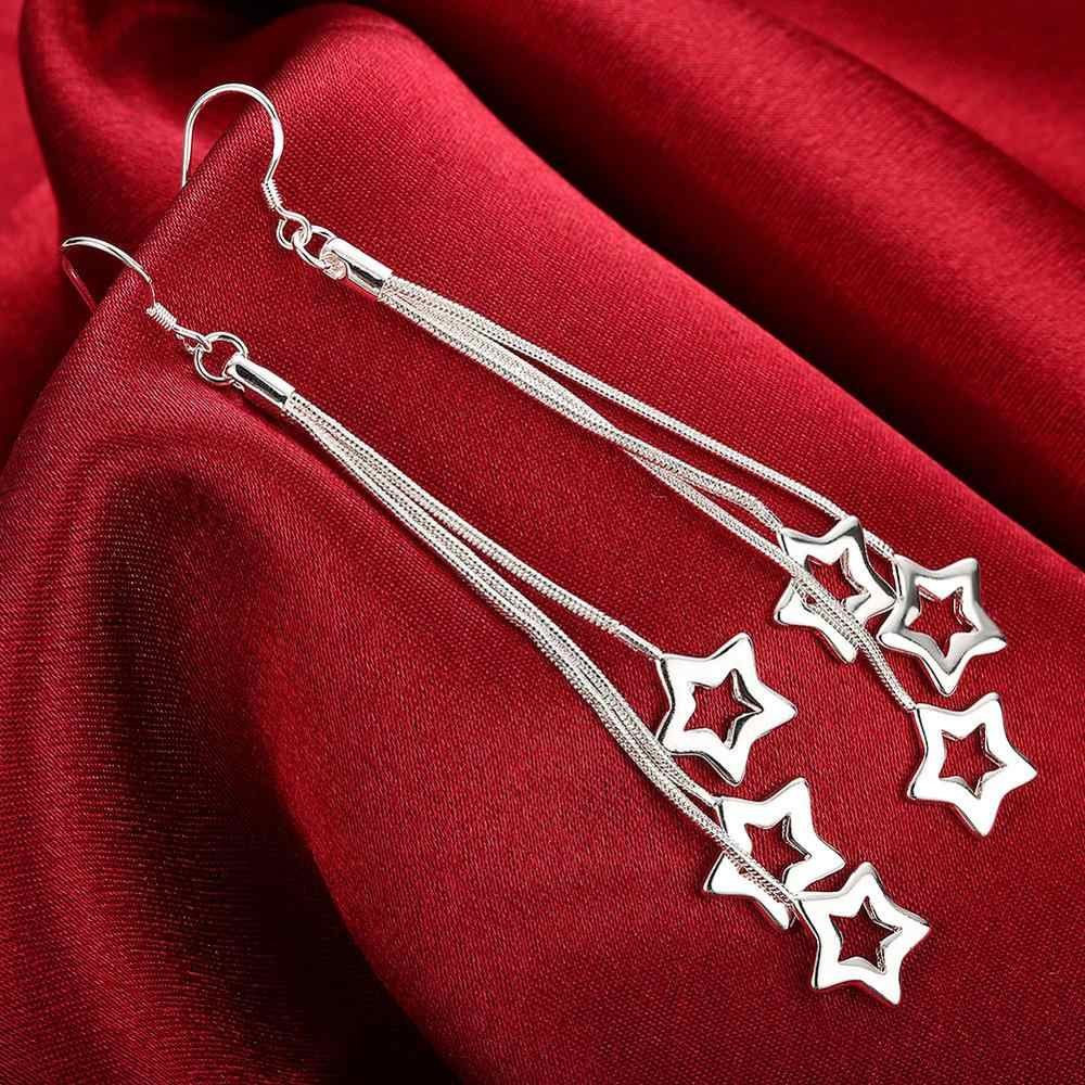 Accessories silver plated jewelry Female's earrings Fashion brincos Earhook Ornaments Long Dangle earring Stars Chain HOT