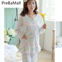 Elegant 2PCS/Sets Maternity Breast Feeding Pajamas Nursing Lounge Clothes for Pregnant Women Breastfeeding Sleepwear Suits B0516
