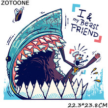 ZOTOONE I&My Beast Friend Cute Cartoon Iron-on Transfers Patches for T-Shirt Heart Applique DIY Clothes Patch Sticker Shark G