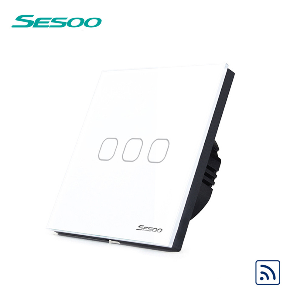 New EU Type SESOO Wireless Remote Control Touch Switch 3 Gang 1 Way, RF433 Smart Wall Switch, Glass Panel, no Remote Controller eu uk standard sesoo remote control switch 3 gang 1 way wireless remote control wall touch switch light switch for smart home