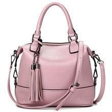 2016 Bolsa Feminina Pink Balde bolso de la Borla de Cuero Bolsos de Las Mujeres Famosas Marcas Bolsas de Asas Simple Mensajero Del Hombro Bolsas