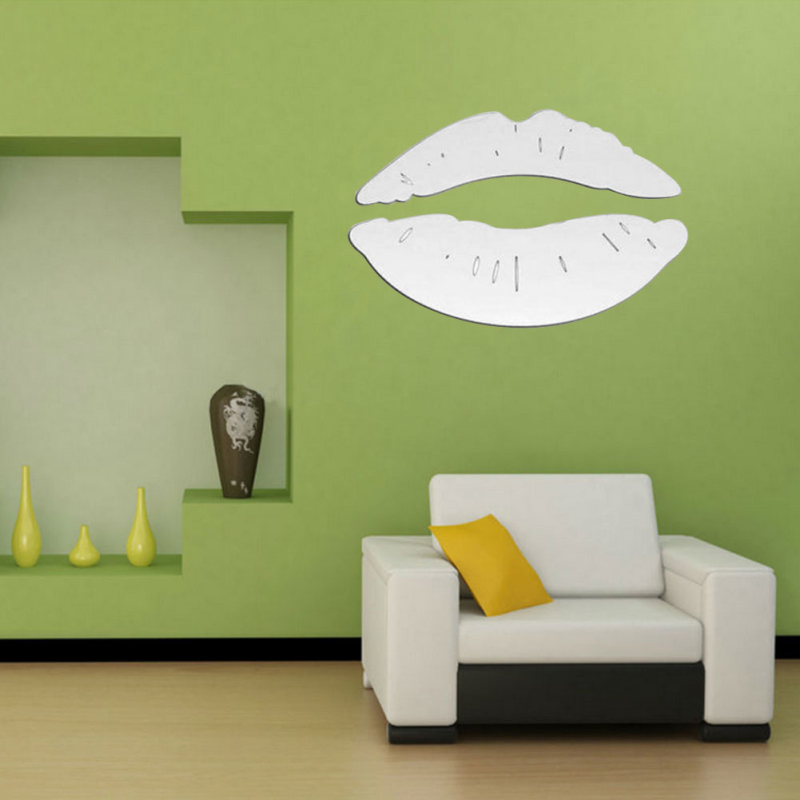 Silver Lips Mirror 3D Wall Art Decal Stickers For LivingRoom Home  Decoration Accessories Crystal Wall Stickers Wallpaper Sticker In Wall  Stickers From Home ... Part 42