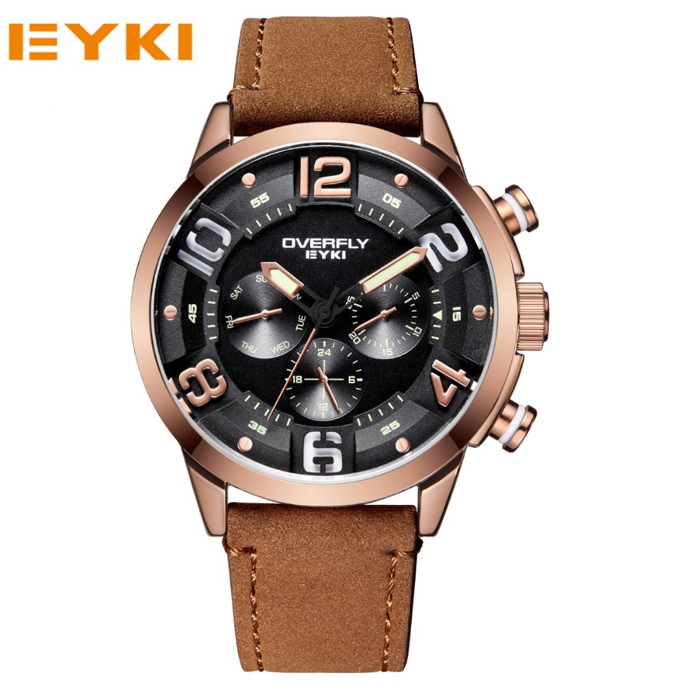 EYKI Top Brand Men Watches Quartz Casual Wristwatches Military Outdoor Sport Watches Male Leather Stap Clocks .Reloj