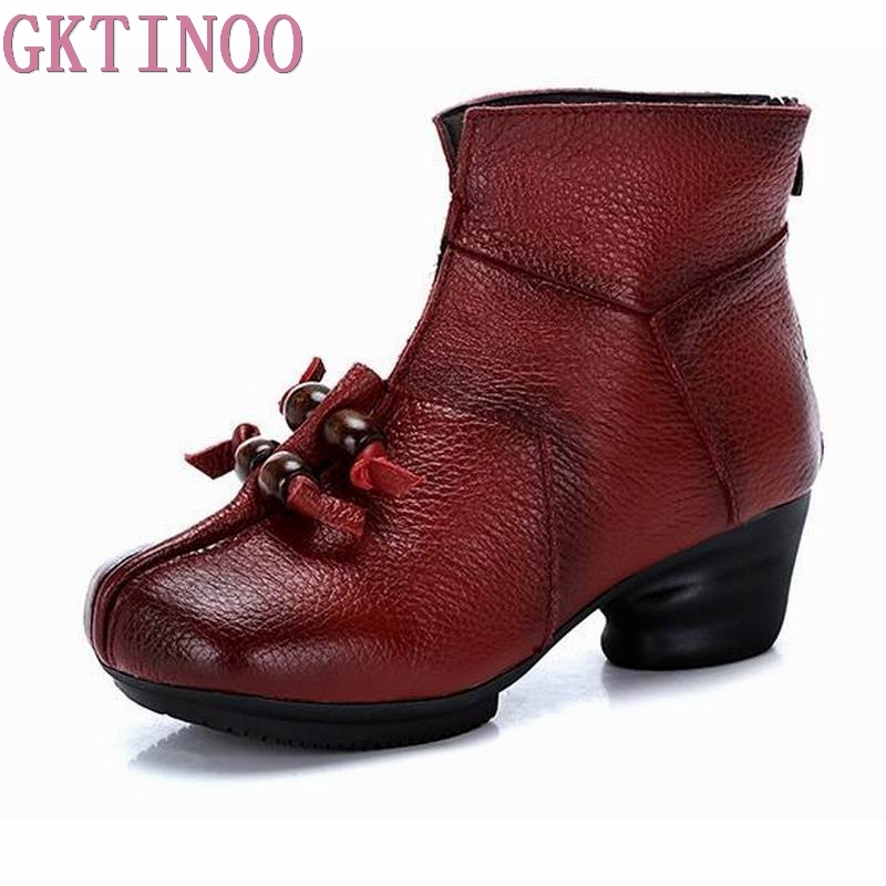 2018 Vintage Style Winter Genuine Leather Women Boots Thick Heels Booties Soft Cowhide Women's Shoes Back Zip Ankle Boots zapato maylosa 2017 vintage style genuine leather women boots flat booties soft cowhide women s shoes zip ankle boots warm winter shoe