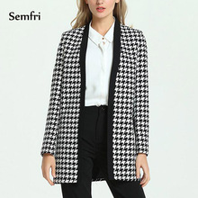 Semfri Elegant Black and White Jacket for Women Houndstooth 2019 Suit  Long Coat with Covered Button Casual Clothes