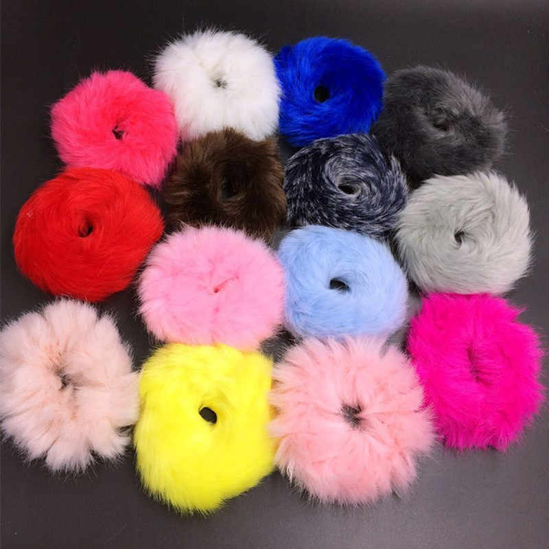 Cute Elastic Hair Bands Girls Artificial Faux Fur Rubber Elastic Ring Rope Fluffy Tie Hair Accessories Furry Scrunchie Headband