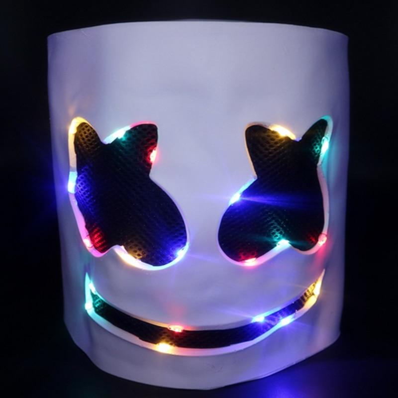DJ mask marshmello Face light masks DJ marshmello helmets cosplay Halloween Carnaval Prop for  marshmello Holiday party