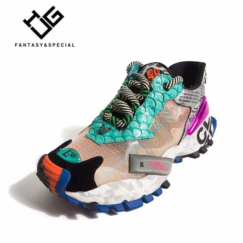 МГС кроссовки Для женщин 2019 Роскошные Оригинальный дизайн Граффити ботинки с массивным каблуком на платформе кожа ската Женские туфли лодо