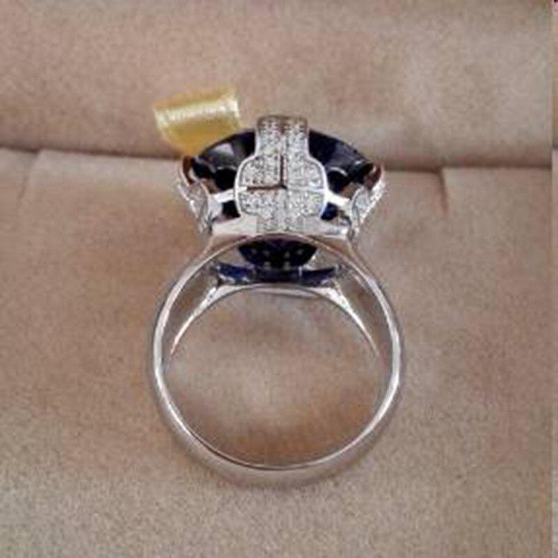 Qi Xuan_Fashion bijoux _big Blue Stones élégant croix femme Rings_S925 solide argent mode Rings_Factory directement ventes - 5