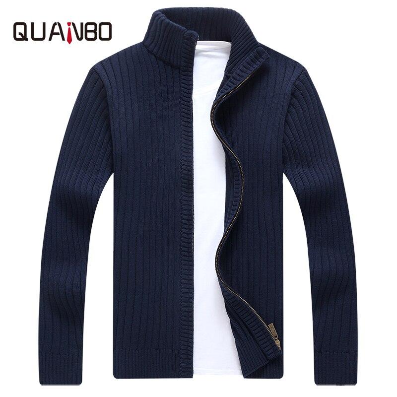 QUANBO Autumn Winter Cardigan Men Sweater 2019 New Brnad Clothing High Quality Fashion Cotton Men Knitwear Coat Sweater Black