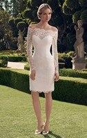 Модные Простые короткие коктейльные платья 2019 вырез лодочкой с длинными рукавами кружевное свадебное платье тонкое выпускное платье для к